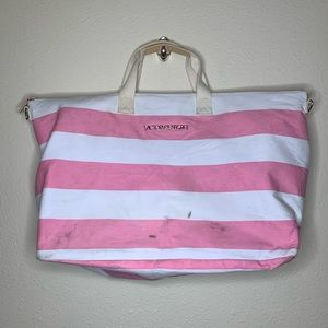 Victoria's Secret Pink Strip Large Canvas Tote